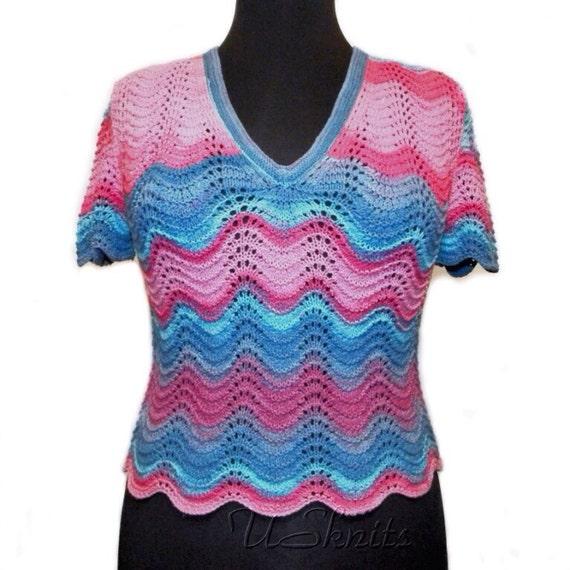 Hand knit shirt, knit top, knit pullover, shirt with open back, summer shirt, woman knitwear, summer pullover, pink shirt, stripped shirt