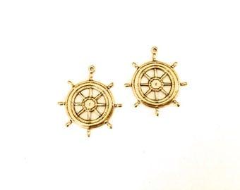 3 Antique Gold Ship Wheel Charm, Nautical Charm, 28x25 mm