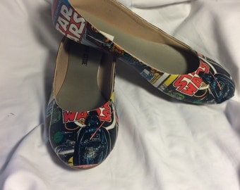 Custom Fabric Vintage Star Wars Comic book Decoupage Shoes (Flats)