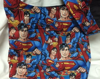 Superman Close Ups Hobo REVERSIBLE CrossBody Bag / purse