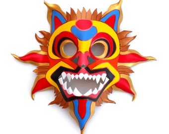Nicaraguan Tiger Leather Mask Sun Sunshine Animal Halloween Wall Decor Devil Multicolor Costume Gift Carnival Circus Masquerade Mardi Gras