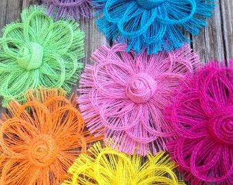 Rainbow Burlap Flowers Color Assortment - Set of 7 - DIY Party Decorations - Rainbow Wedding, Rustic Wedding - Baby Shower Decorations