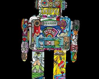 Robot tattoo etsy for Tom servo tattoo