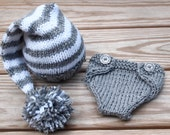 Newborn baby girl or boy hand knitted diaper cover and Elf hat set for Photography Props