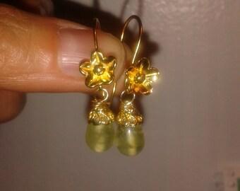 October birthstone-green tourmaline delicate drop earrings