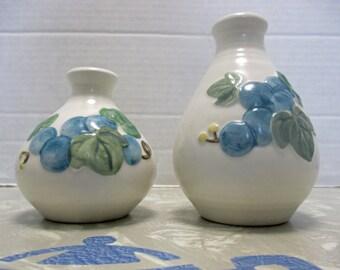 Metlox Vernonware Poppytrail Traditional Shape - Sculptured Grape Pattern - Salt and Pepper Shaker Matched Set