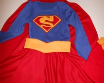 Super Girl Costume 12 Months to size 12: Skirt, Top, Cape, Belt and Tiara  * Wonder Woman- Super hero Costume