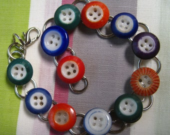 Vintage China Ringer Button Bracelet
