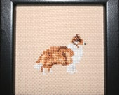 Rough Collie Cross Stitched Full Body Dog.