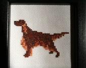 Irish Setter Cross Stitched Full Body Dog.