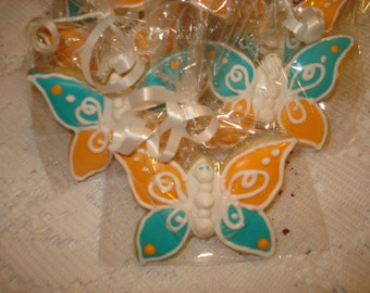 Sweet Flutter Butterfly Vanilla Decorated Sugar Cookies - 1 Dozen