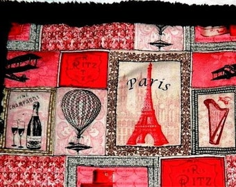 Baby Girl Quilt - Baby Girl Paris Quilt - Baby Girl Mini Quilt - Baby Paris in Spring, Security Blanket - Red, Black, Pink, White Mini Quilt