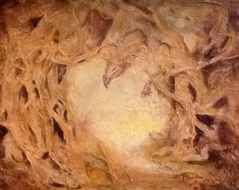 """Hobbit cave, 14""""x18"""" mixed media abstract painting resembling a Hobbit like scene  entitled """"Cave Dweller"""""""