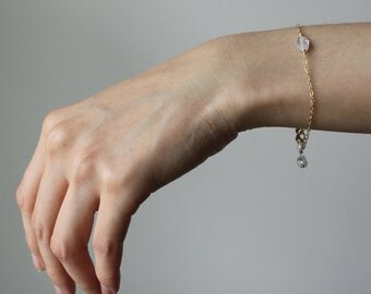 Cubic Zirconia Bracelet-Delicate Dainty Bracelet-Clear Diamond CZ-April Birthstone-Birthday Gift-Handmade-Gift for Her