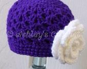 Double-V Beanie, Flower Beanie, Flower Hat, Crochet Beanie, Crochet Hat, Crochet Baby Hat, Crochet baby Beanie, Baby Beanie, Baby Hat