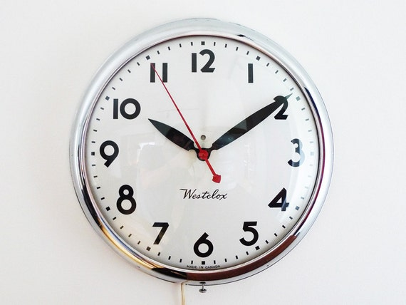 Vintage Westclox Electric Wall Clock Industrial Chrome By