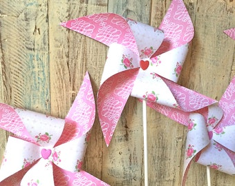 Pinwheels - One Fine Day - Floral Pink Patterned Pinwheels - Party Favors Wedding Decor - Rustic Vintage Shabby Chic Wedding