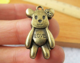 10pcs 16x29mm Antique Bronze Lovely Bears Charms Pendant  Jewelry Supplies A1074-10