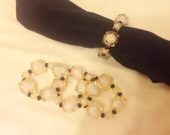 50% Sale...Set of 4  Napkin Rings,Wedding,Stretch Gold Napkin Rings,Bridesmaid Gift,Bridal,Napkin Rings,Table Decoration,Romantic Dinner,