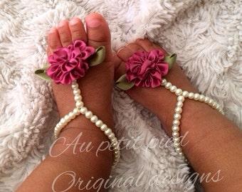 Baby barefoot sandals,baby girl gift,baby sandals,girl baptism gift,girl christening gift,baby shower gift,photo prop,girl baptism