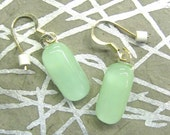 RESERVED for Helen jewelry earrings pale jade green fused glass