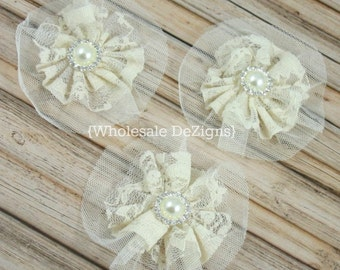 """Ivory Lace and Tulle Flower with 18mm Pearl Rhinestone Center 3.5"""" - 3 Pieces"""