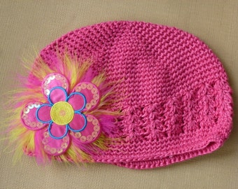 Childs Pink Hand Decorated Chemo Hat, Chemo Pink Hat with Sequin Flower and Maribou Puff