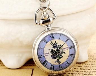 1pcs small  Blue Flower  pocket watch charms pendant   25mmx25mm AA203