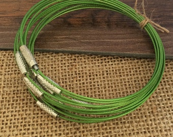 15pcs Green color 1.0mm  9inch stainless steel wire bracelet cord