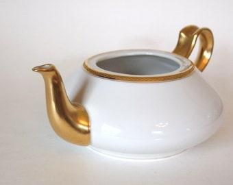 Antique Teapot No Lid Haviland & Co. Limoges Porcelain White and Gold Tea Pot turned Vase  - France | French Cottage Home Decor