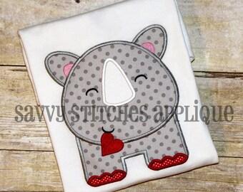 Heart Rhino Valentines Day Machine Embroidery Applique Design