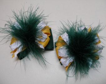 Set of TWO Petite Over the Top Pig Tail Hair Bows School Girl Uniform Yellow Gold Green Bay Packers