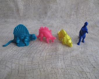 Vintage 80s Neon Assorted Plastic Dinosaur lot of 4