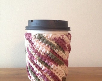 Crocheted Coffee Cup Cozy - Reusable Sleeve
