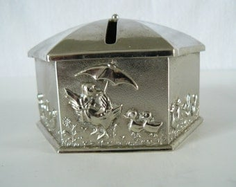 Piggy Bank By Elegance Silver Plated Zinc/Vintage Baby Bank