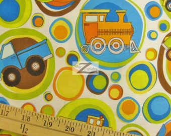 """Transportation On The Go White By Riley Blake 100% Cotton Fabric - 45"""" Width Sold By The Yard (FH-397)"""