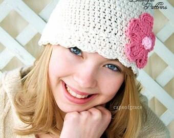 Crochet Hat Pattern Womens Daisy Flower Flapper Beanie Hat Crochet PDF 120 Newborn to Adult  Photo Prop Instant Download