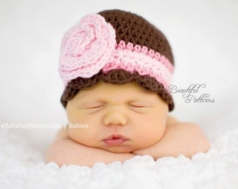 Crochet Hat Pattern Baby Flapper with Rose Flower Hat Beanie PDF 100 Newborn to Adult  Photo Prop Instant Download