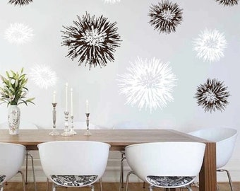 Spiky Wall Decals, Pointy Wall Decals, Spiky Wall Designs, Flower Wall Designs, Firework Wall Decals, Explosion Wall Decals, Floral Art, f75