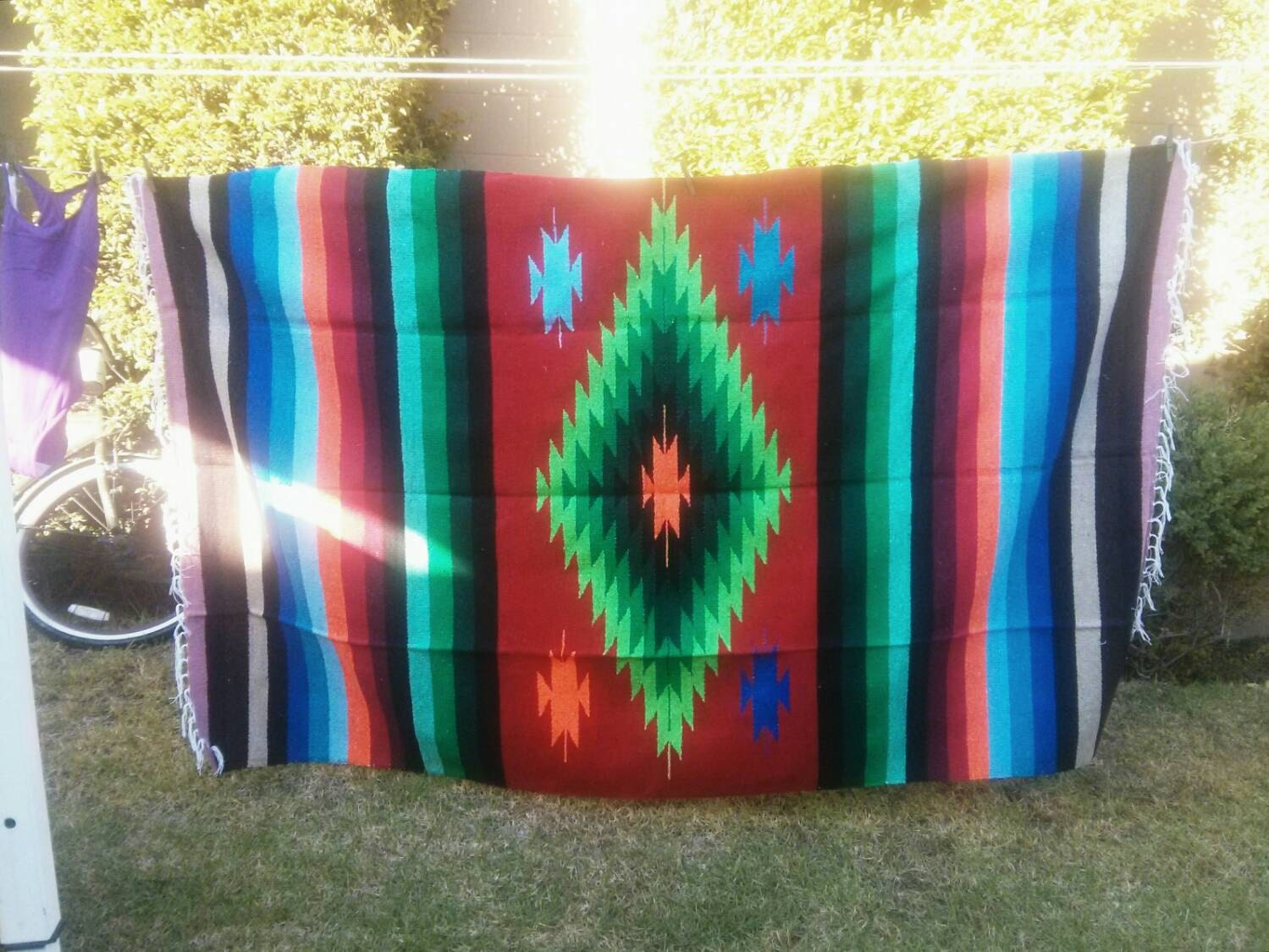 RESERVED FOR MERIE diamond design mexican blanket fabric/