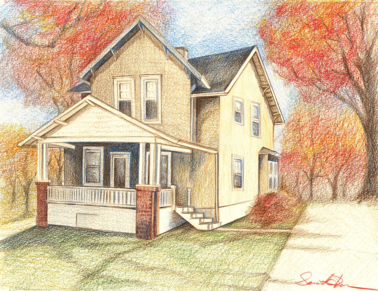 House Drawing Colored Pencil Drawing House Art by ...