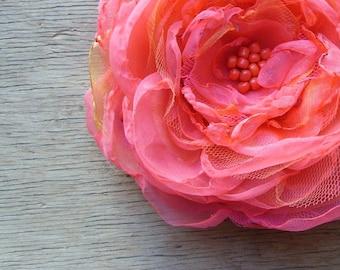 Extra Large Coral Flower Hair Clip Lane Del Rey Hair Flower Bridesmaid Flower Coral Wedding Hair Accessories Summer Bride