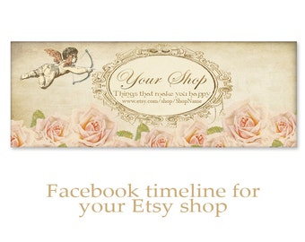 Personalized Facebook Timeline Banner Cover with pink shabby flowers- Digital Download - PINK ROSES TIMELINE