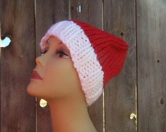 Elf Hat-Hand Knit-Unisex-Red and White-100% Acrylic