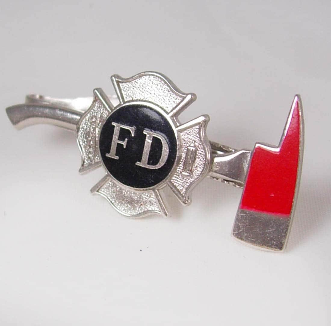 vintage department ax tie clip enamel fd firefighter