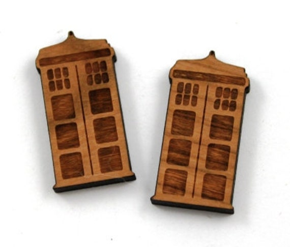 Laser Cut Supplies-1 Piece.Tardis Charms - Cherry Wood Laser Cut Doctor Who -Brooch Supplies-Little Laser Lab Sustainable Wood Products