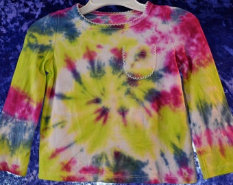 Toddler Long-Sleeved Shirt SIZE 18 mo. with Pocket in Blue, Purple, and Green Spiral Tie-Dye