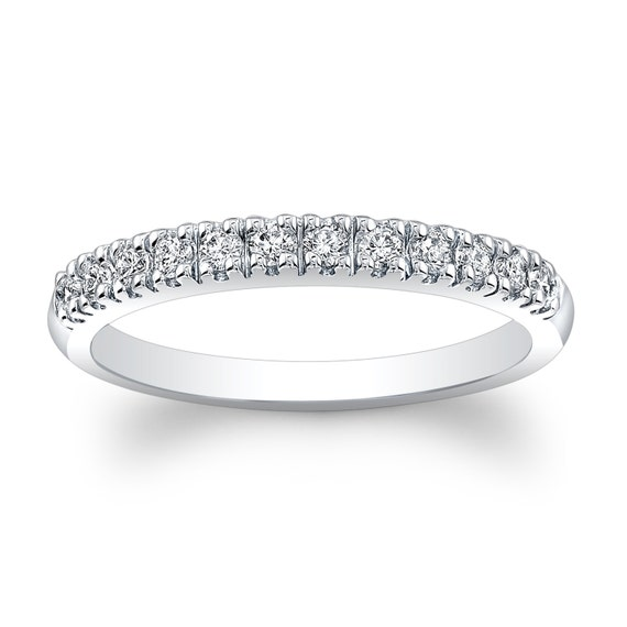 Ladies 18kt White Gold Thin Diamond Wedding Band Ctw