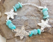 Silver Starfish and Blue Amazonite and Aquamarine Stone Silver Clasp Adjustable Bracelet