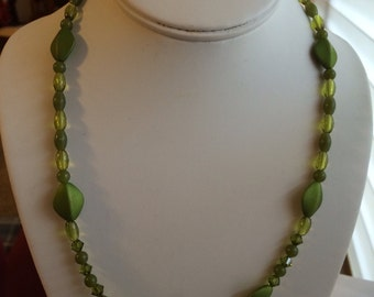 Green and Iridescent Beaded Necklace.